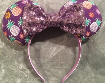 Dole Whip Inspired Pineapples and Hawaiian Flowers Inspired Minnie Ears! Handmade Sewn & Stuffed- Fits Child to Adult