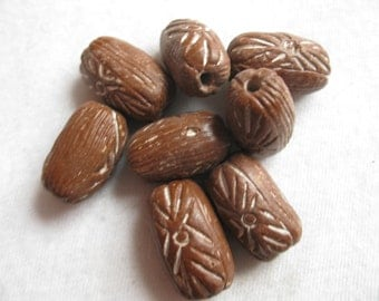 Vintage Hand-Carved Wooden Beads