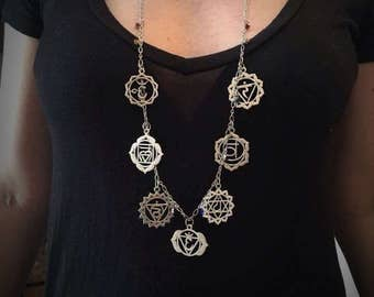Silver Chakra Charm Necklace, Boho Jewelry, Chakra, Bohemian, Bohemien Jewelry