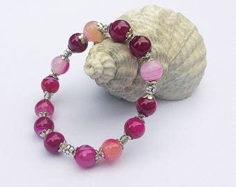 Pink Agate Bracelet, Stretch Bracelet, Stacking Bracelet, Genuine Gemstones, Semi Precious, Gifts for Her, Beaded Jewellery, Women's Jewelry