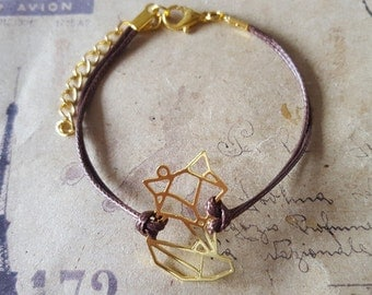 Origami Fox - bracelet-goldfarben Brown band