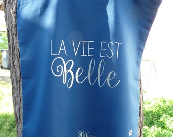 "Tote Bag ""life is beautiful"" / custom totebag / girl pouch"