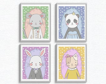 4 Nursery Animal Prints 8 x 10 instant download, printable, children, decor, rabbit, bunny, cat, mouse, panda, cute, playroom, illustration