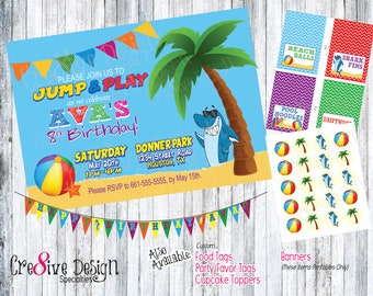 Beach Ball Shark Birthday Custom Printable Invitation, Price for Invitation Design Only, Beach Ball, Palm Tree, Beach Birthday, Fun in Sun