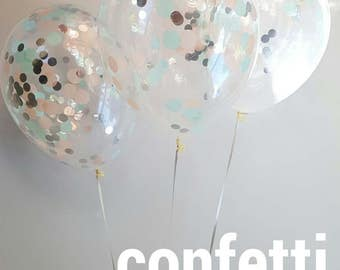 Confetti Balloons  Peach & Mint 3 Sizes to choose from, 28cm , 43cm and jumbo 90cm