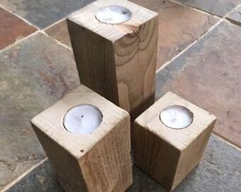 wooden candle holder, wood tealight holder, rustic candle holder, modern candle holder, rustic tealight holder, candle holder set