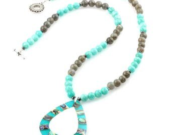 Labradorite and Russian Amazonite Gemstone Necklace