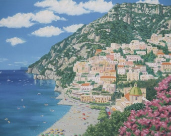 Positano Italy Original Oil Painting on Stretched Canvas