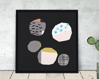 PING PONG DOTS / print / illustration / wall art / giclee / dots / abstract / paper collage / colourful / geometric / black