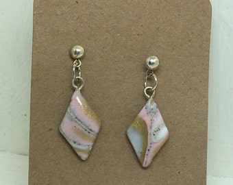 Pink, Gold, Mokume Gane, Polymer Clay, Earrings, studs.