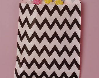 "12 Chevron Black and White Paper Bags. Grocery Bags. Party and Candy Bags. 5 1/8x6 3/8"". Favor Bags."
