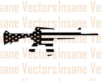 American Flag Rifle Silhouette Clip Art Image | Rifle Vector | Rifle svg | Flag svg | Flag vector | gun svg | USA vector | AR15 svg | m4 svg