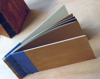 Japanese binding, made with boxes of fruit, ecological,japanese notebook, upcycling,wooden notebook, notebook