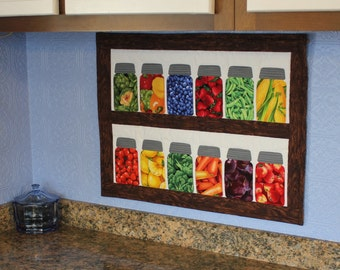 Canning jars kitchen wall quilt pattern with fruit & vegetable fabric charm pack