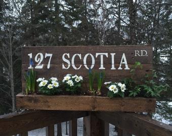 Address Sign Planter Box, House Number Sign,