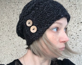 Button Bonnet Slouchy Hat