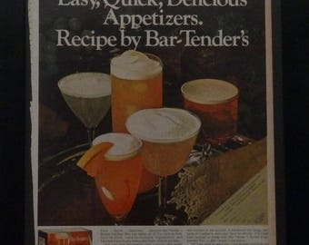 Bartender's, Whiskey Sour Mix, Vintage Ad, 1969, Coctails, Mad Man Decor