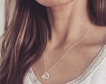 Bridesmaid Jewelry Personalized Hand Stamped Charm Necklace with Swarovski Crystal Initial Necklace Monogram Charm Elegant Wedding Jewelry