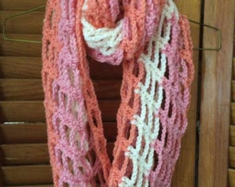 Infinity Scarf lightweight Crocheted White/Pink/Peach
