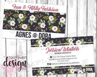 Agnes and Dora Business Cards, Agnes & Dora Business Card, White Rose Floral Decal, Custom Personalized Marketing Kit / Branding, PRINTABLE