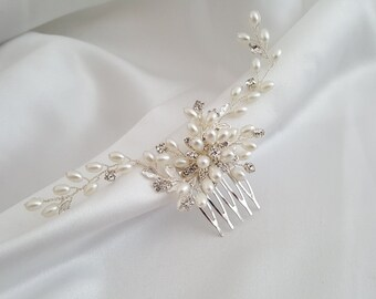 Bridal Hair Comb, Pearl Hair Comb, Bridal Hair Jewelry, Pearl Wedding Headpiece, Bridal Hairpiece