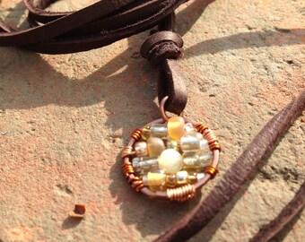 Circle Necklace, Caramel Latte Bead Mix, Mandala Pendant, Adjustable Necklace, Sundance Style