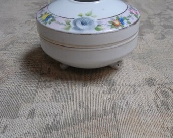 Hand Painted Nippon Footed Hair Receiver