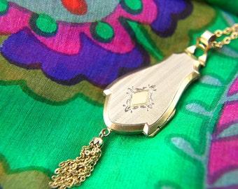 Tassel Locket Necklace - Engraved Locket - Gold Filled Locket - Wedding Locket - Vintage Jewelry