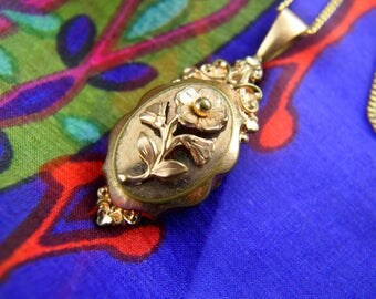 French Flower Locket Necklace - 1900s Locket - Repousse Locket - Gold Filled Locket - Wedding Locket