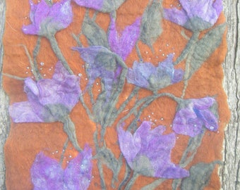 """painting in felted wool and pearls """"fields of purple flowers"""""""