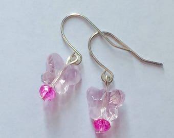 Pink Butterfly Earrings, butterfly