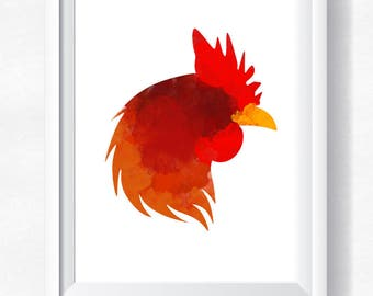 Rooster print, Red rooster printable, rooster watercolor, farm wall art, rooster wall art, rooster download, rooster digital rustic print