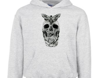 Floral Scull hoodie Tattoo Shirt, Rose Butterfly Skeleton Drawing hoodie