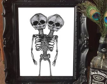 PRINT AND FRAME Conjoined Twins goth skull American Horror Story