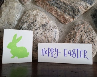 Hoppy Easter and Bunny Wood Sign Shelf Sitter Set