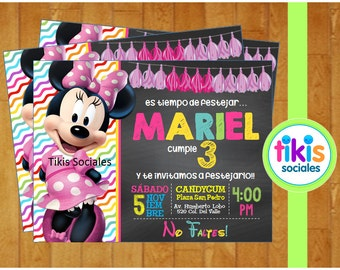 Minnie Mouse Invitation, Pink Minnie, Printable