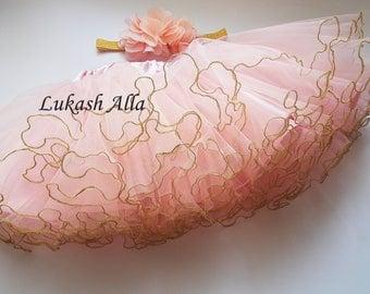 Tutu and Headband Set.Newborn Tutu, Baby Tutu,Pink and gold tutu. Baby girl tutu, Birthday tutu,gold tutu baby, gold tutu skirt.