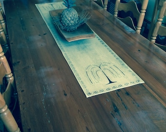 Primitive Willow Tree Table Runner floorcloth