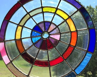 Purples & Yellows stained glass circle