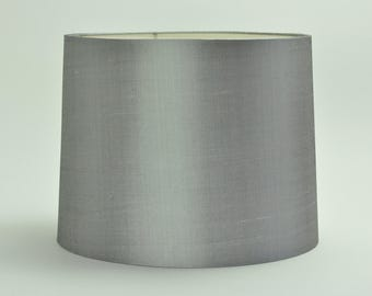 Lamp shade, gray silk shantung tapered drum