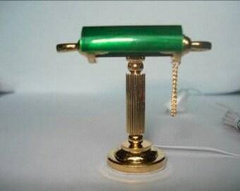 Dolls House Miniature Banker Green Desk Light