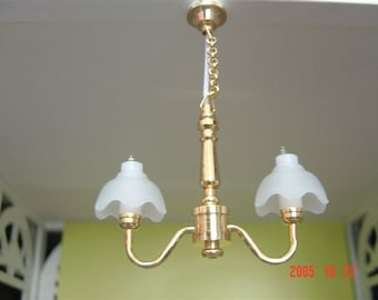 Dolls House Working 2 Arm Chandelier