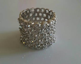 Sterling silver rhodium plated cz encrusted wide band