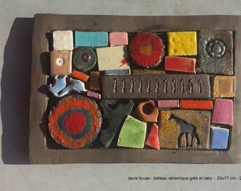 Ceramic painting 20 x 20 cm, patchwork, mosaics, raku, stoneware, earthenware