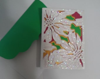 Handmade 3D Poinsettia Christmas Card