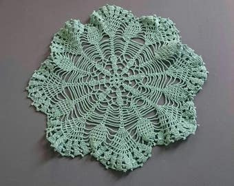Vintage Doily Green Cotton Thread Lace