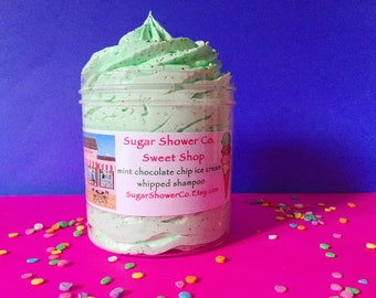 Whipped Shampoo - Sugar Shower Co. Sweet Shop - Mint Chocolate Chip Ice Cream Shampoo - Whipped Soap - Waffle Cone Conditioner