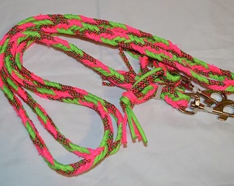 8ft. Neon Pink And Green Adjustable Paracord Reins