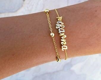 Name Bracelet, Gold Letter Bracelet, Initial Bracelet, Bracelet Set, Friendship Bracelets, Monogram Bracelet, Bridesmaid gifts, Personalized