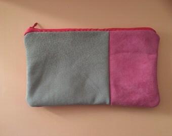 Suede block colour pouch